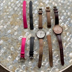 Fossil watch bundle. 2 watch faces and 6 bands